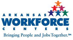 Logo image for Arkansas Workforce Centers with tagline 'Bringing People and Jobs Together'